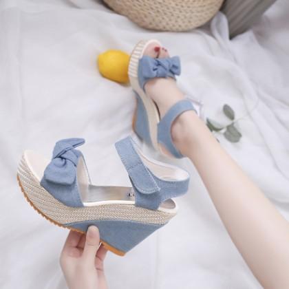 Women Ultra High Heel Wedge Velcro Sandals Summer Shoes
