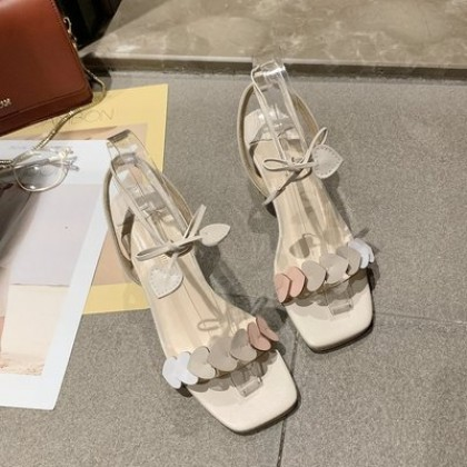 Women New Square Head High Heels Open Toe Love Fairy Style Shoes