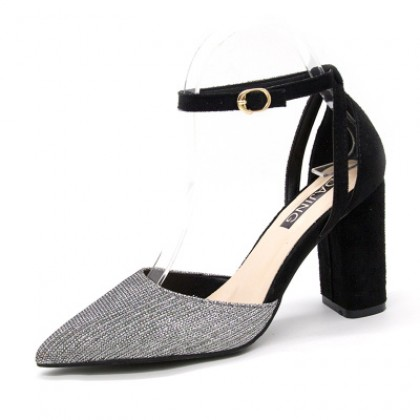 Women Crystal Sequined Pointed High Heels Shoes