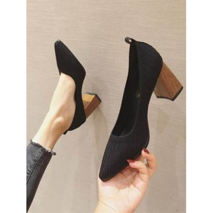 Women New Thick-heeled Square Head Wool Flying Woven Shoes