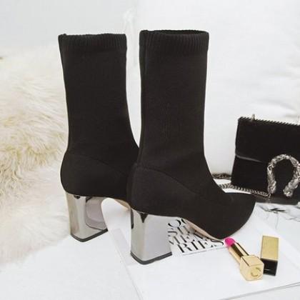 Women New Elastic Thick Heel High Boots