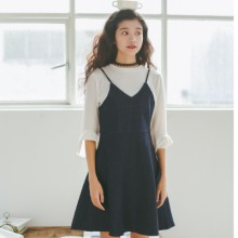 Women Korean Cute Retro Denim Strap Dress