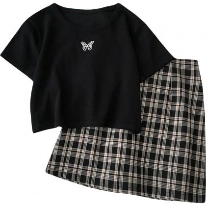 Women Clothing Embroidery Short-sleeved Shirt + Plaid Skirt