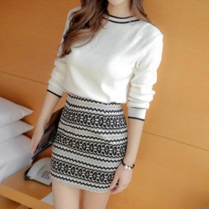 [READY STOCK] Women 2 Pieces 1 Set Knitted Sweaters Dress