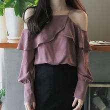 Women Lotus Leaf Straps Chiffon Shirt