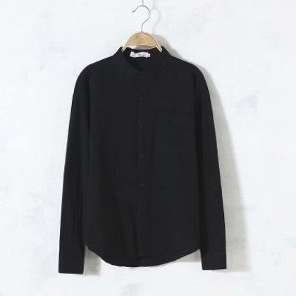 Men Clothing Long-sleeved Round Neck Linen Casual Loose Shirt