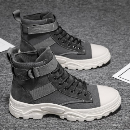 Men New High-top Canvas Lace-up Boots