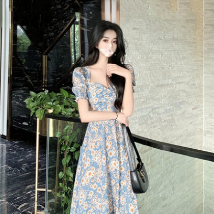 Women Clothing New Skirt Retro Small Daisy Oil Painting Floral Dress