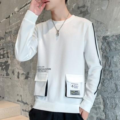 Men Clothing Plus Size New Long-sleeved T-shirt