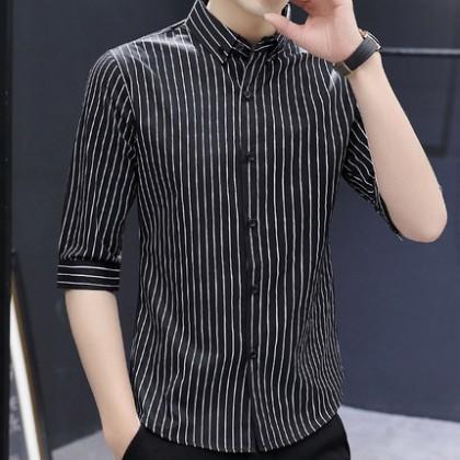 Men Clothing Plus Size Long Sleeve Striped Shirt