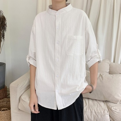Men Clothing Plus Size Stand-up Collar Middle-sleeved Shirt