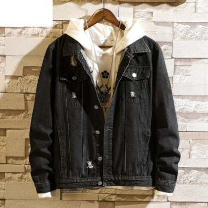 Men Clothing Casual Loose Denim Jacket