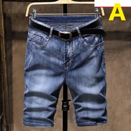 Men Clothing Straight Loose Five-point Denim Pants