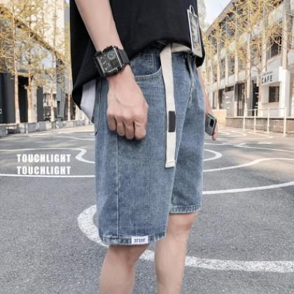 Men Clothing Straight Loose Five-point Denim Shorts