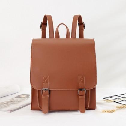 Women Korean Soft Leather PU Backpack Student Bag