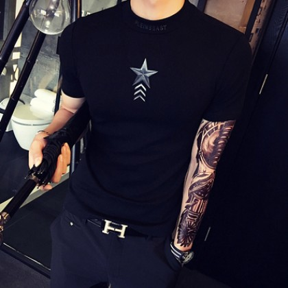 Men Star High-Collar Slim SHort Sleeve T-Shirt