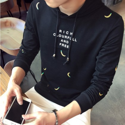 Men Korean Banana Hooded Long Sleeve T-Shirt
