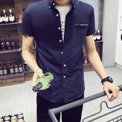 Men Simple Pocket Short Sleeve Shirts