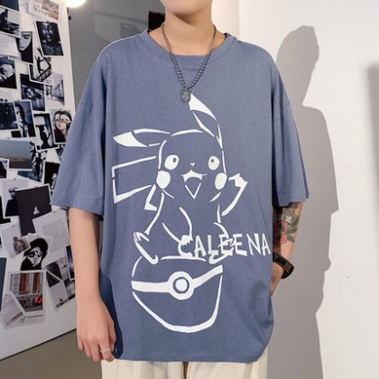 Men Clothing Short-sleeved Anime Cartoon Print T-shirt