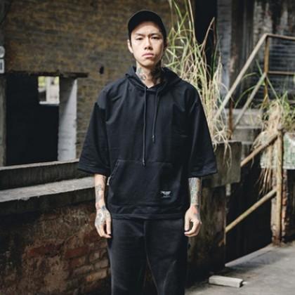 Men Japanese Style 3/4 Sleeve Hooded T