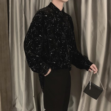 Men Clothing Long-sleeved Starry Sky Patterned Printed Shirt