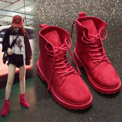 Women Lace-up Flat Bottom Short Fashionable Casual Boots