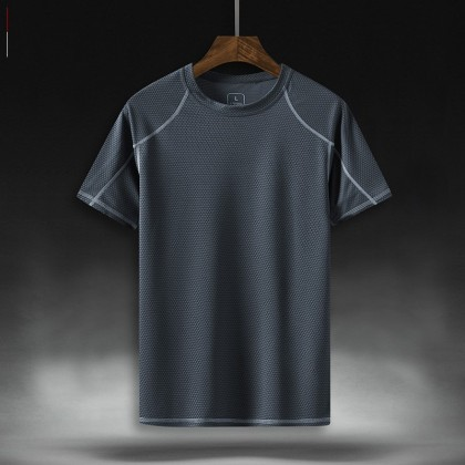 Men Clothing Plus Size Short-sleeved Round Neck Outdoor Sports T-shirt