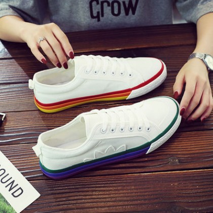 Men Street Fashion Students  Casual Canvas Rainbow Shoes