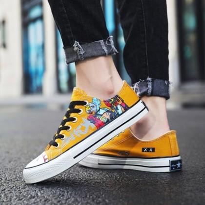 Men Non-slip Graffiti Anime Street Fashion Casual Canvas Shoes