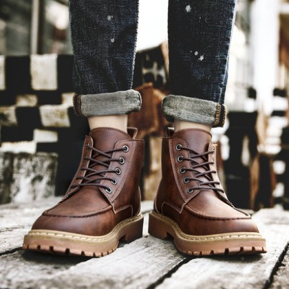 Men Casual Mid-top Leather Military Boots