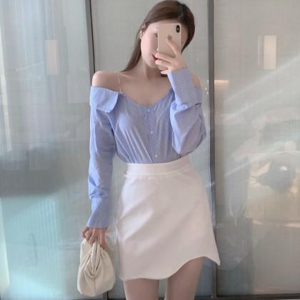 Women Clothing Sexy One-line Collar Off-shoulder Chain Tops + High Waist Skirt