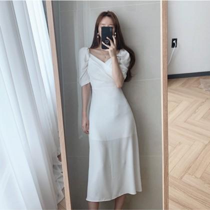 Women Clothing Elegant V-neck Bubble Sleeve Chiffon Dress