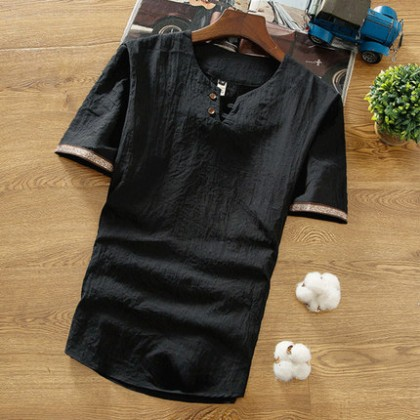 Men Clothing Plus Size Summer Light Cotton and Linen Short-sleeved T-shirt