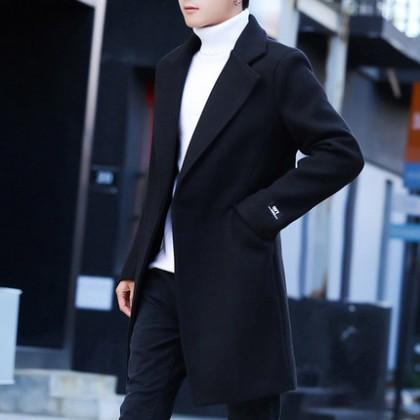 Men Clothing Mid-length Windbreaker Woolen Coat