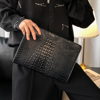 Men New Crocodile Pattern Document Trendy Bag
