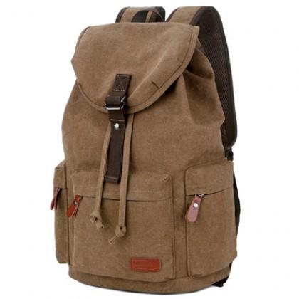 Men Canvas Large Capacity Backpack Leisure Travel Student School Bag