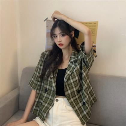 Women Clothing Plaid Short-sleeved Suit Jacket