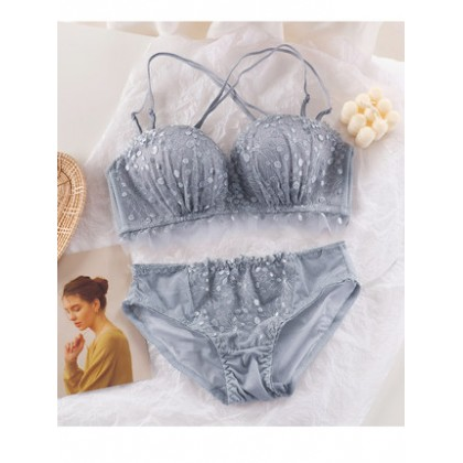 Women Clothing Lace No Steel Ring Adjustable Anti-sagging Bra Underwear Set