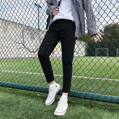 Men Clothing Casual Nine-point Slim Fit Jeans