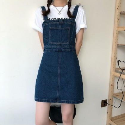 Women Clothing Waist Slimming A-line Denim Strap Short Skirt Dress
