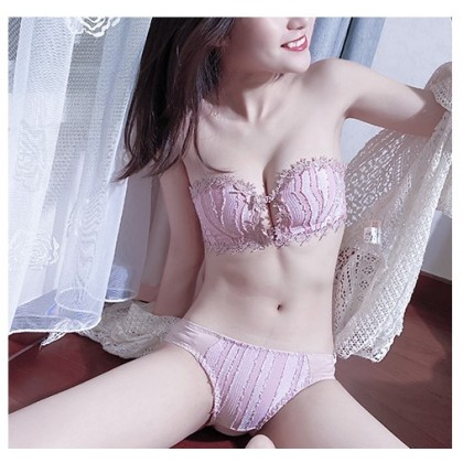 Women Clothing Tube Top No Steel Ring Front Buckle Wrapped Bra Underwear Set