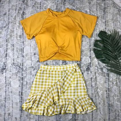 Women Clothing Plaid Split Swimsuit Short-sleeved Swimming Suit