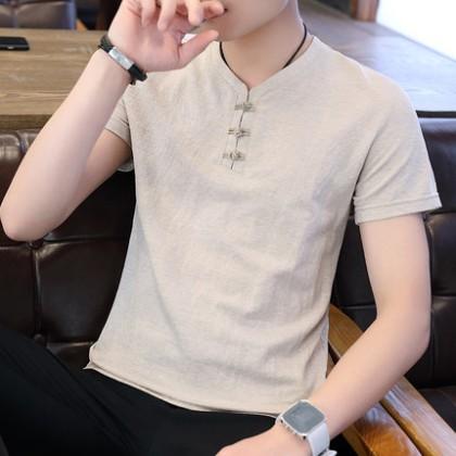 Men Clothing Summer Short-sleeved V-neck Shirt