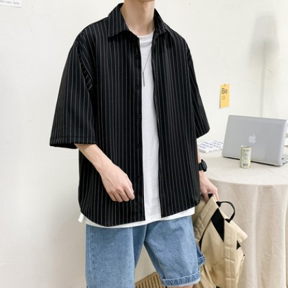 Men Clothing Three-quarter Short-sleeve Casual Striped Loose Jacket
