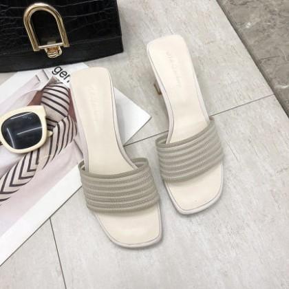 Women Open Toe Thick Heel High Heel Sandals and Slippers