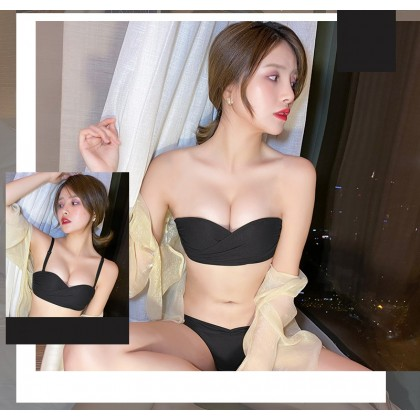 Women Clothing Tube Top No Steel Ring Adjustable Bra Underwear Set
