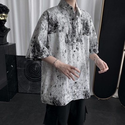 Men Clothing Casual Handsome Loose Half-sleeved Shirt