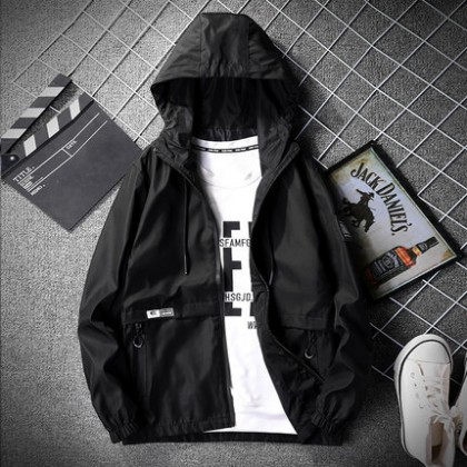 Men Clothing Loose Casual Hooded Trendy Jacket