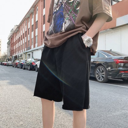 Men Clothing Loose Outer Wear Five-point Casual Pants