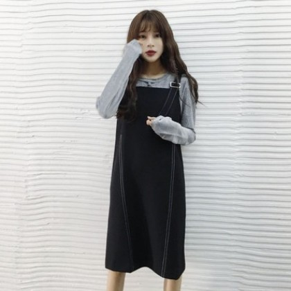 Women Korean Retro Long Strap Dress